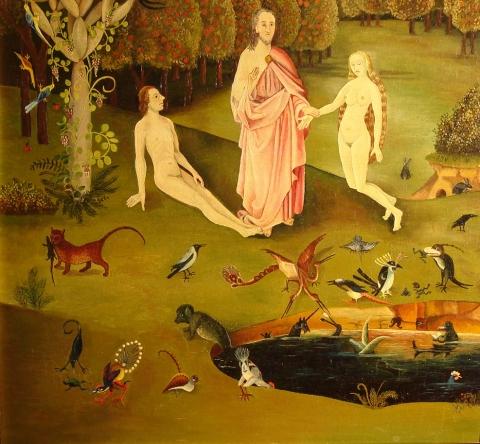 Bosch, détail du volet gauche du Triptyque des Délices, Prado