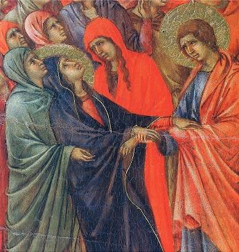 Duccio. Vers 1310. Maesta.  Crucifixion. Détail.