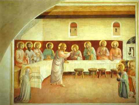 Fra Angelico. La Communion des Apôtres. Fresque de la cellule 35. Couvent San Marco.