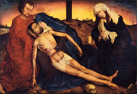 Roger Van der Weyden. Déposition de croix.  Musée national de Berlin.