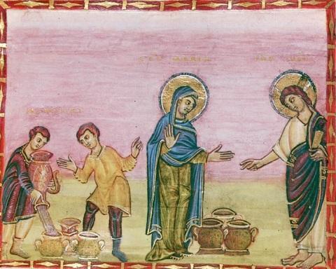 Les noces de Cana. Miniature du Codex Egbert.  Entre 980 et 993. Trèves. Stadtbibliothek.