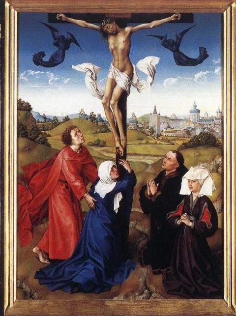 Roger Van der Weyden. Triptyque de la crucifixion.  Vers 1445. Musée de Vienne.